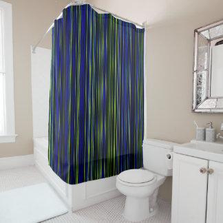 レトロのストライブ柄のライムの青緑のシャワー・カーテン シャワーカーテン