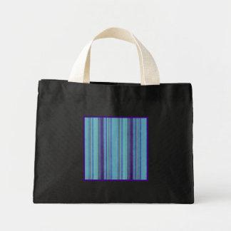 レトロのストライプで青い紫色のストライプの小さい黒 ミニトートバッグ