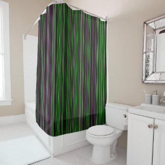 レトロのストライプなライムグリーンの紫色のシャワー・カーテン シャワーカーテン