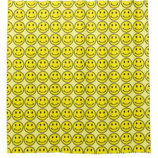 レトロのスマイリーフェイスの黄色のスマイルのBathのシャワー・カーテン シャワーカーテン