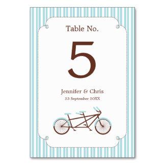 レトロのタンデム自転車の青及び白くストライプのな結婚式 カード