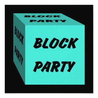 レトロのターコイズのブロックパーティの会合の招待状 13.3 スクエアインビテーションカード
