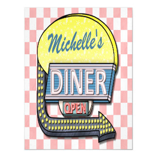 レトロのダイナーの印50sのピンクのチェック模様の名前入り マグネットカード