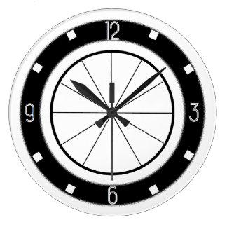 レトロのダイナースタイルの台所時計(白黒) ラージ壁時計