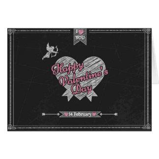 レトロのチョークによって描かれるバレンタインデー挨拶のCrd カード
