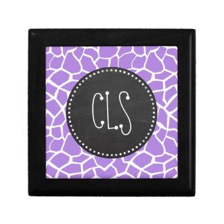 レトロのチョーク; 紫色の紫色のキリンのアニマルプリント ギフトボックス