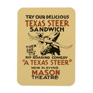 レトロのテキサス州の雄牛のサンドイッチおよび劇場は広告を遊びます マグネット