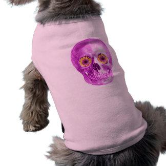レトロのデイジーの目とのピンクのスカル ペット服