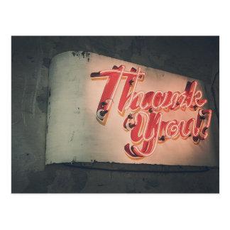 レトロのネオンサインは感謝していしています ポストカード