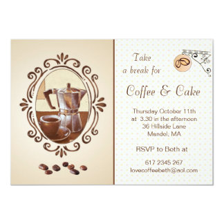 レトロのノスタルジックなコーヒーメーカー及びコップのパーティーの招待 11.4 X 15.9 インビテーションカード