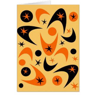 レトロのハロウィンのブーメランのスターバスト カード