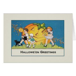 レトロのハロウィンの挨拶状 グリーティングカード