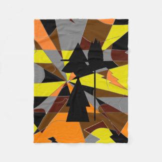レトロのハロウィンの魔法使いの抽象芸術 フリースブランケット