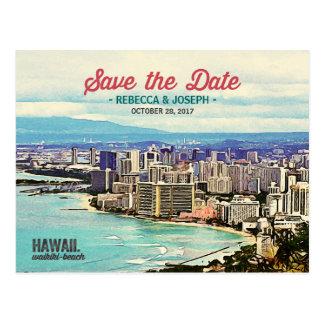 レトロのハワイWaikikiのビーチの写真の保存日付 ポストカード