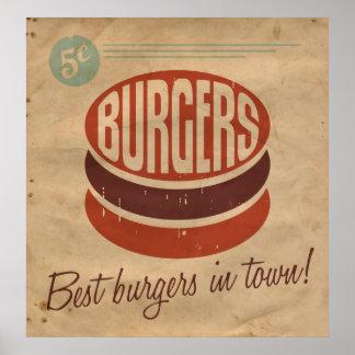 レトロのハンバーガー ポスター