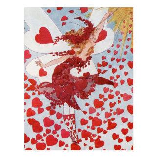 レトロのバレンタインの妖精-ロマンチックな読書のハート ポストカード