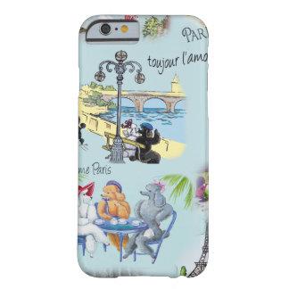 レトロのパリのプードルのコラージュ BARELY THERE iPhone 6 ケース