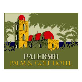 レトロのパレルモシシリーのホテル旅行広告 ポストカード