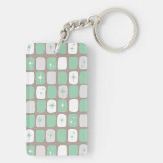 レトロのヒスイのスターバストの長方形Keychain キーホルダー