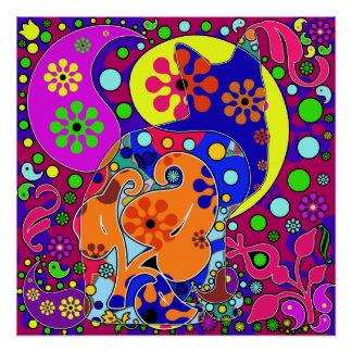 レトロのヒッピーのフラワーパワーのペイズリー猫のポップアート ポスター