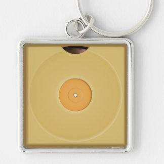 レトロのビニール音楽はKeychainを記録します シルバーカラー正方形キーホルダー