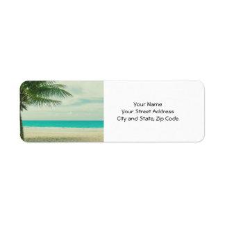レトロのビーチのテーマ 返信用宛名ラベル