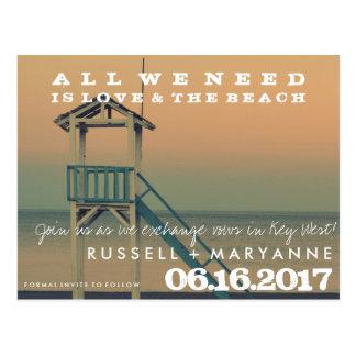 レトロのビーチ結婚式の保存日付の郵便はがき ポストカード