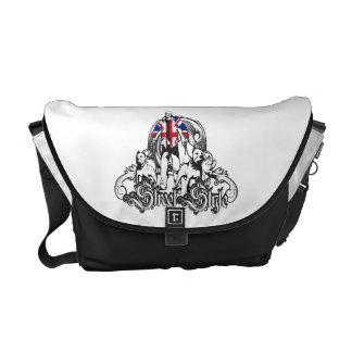 レトロのピットブル犬の人力車のバッグの黒、 メッセンジャーバッグ