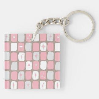 レトロのピンクのスターバストのアクリルKeychain キーホルダー