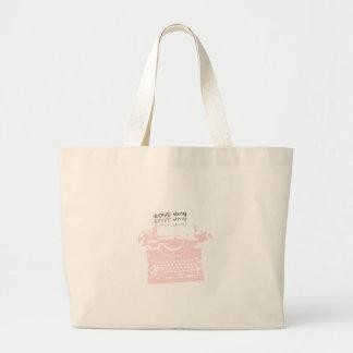 レトロのピンクのタイプライター ラージトートバッグ