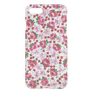 レトロのピンクのバラのiPhone 7のClearly™のディフレクターの箱 iPhone 8/7 ケース