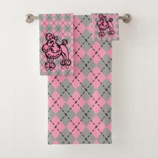 レトロのピンクのプードルのBathタオルはギフトを置きました バスタオルセット