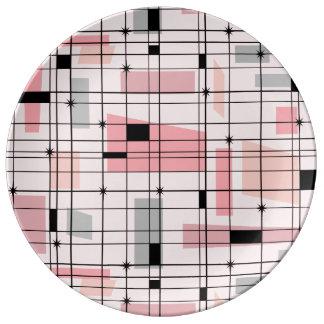 レトロのピンクの格子およびスターバストの磁器皿 磁器プレート