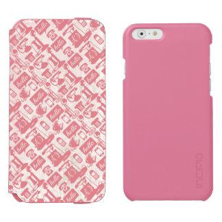 レトロのピンクの電話パターン INCIPIO WATSON™ iPhone 6 ウォレットケース