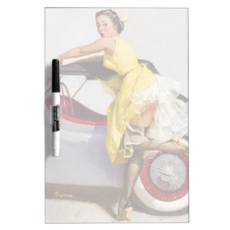 レトロのピンナップの女の子を隠して下さい ホワイトボード