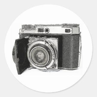 レトロのフィルムのカメラの写真撮影のスケッチのスケッチ ラウンドシール