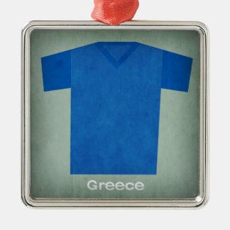 レトロのフットボールジャージーギリシャ メタルオーナメント