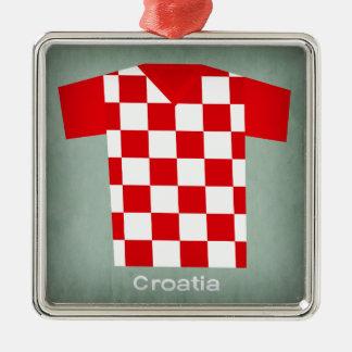 レトロのフットボールジャージークロアチア メタルオーナメント