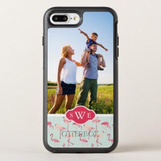 レトロのフラミンゴはPattern|あなたの写真及びモノグラムを加えます オッターボックスシンメトリーiPhone 8 Plus/7 Plusケース