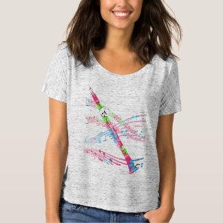 レトロのフラワーパワーのピンクのクラリネット Tシャツ