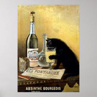 """レトロのフランスのなポスター""""アブサンブルジョア"""" ポスター"""