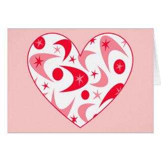 レトロのブーメランのバレンタインのハート カード