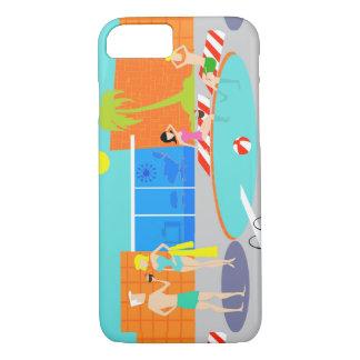 レトロのプールを囲んでのパーティのiPhone 7の場合 iPhone 8/7ケース