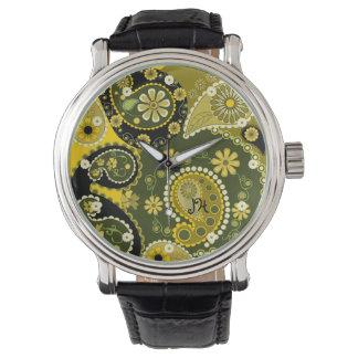 レトロのペイズリーはカスタムな腕時計を模造します 腕時計