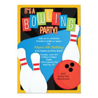 レトロのボーリングの子供の誕生日のパーティの招待状 カード