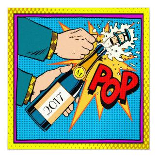 レトロのポップアートのパーティー、新年、招待状 カード