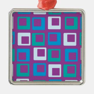 レトロのポップ・アートのな正方形の紫色の青 メタルオーナメント