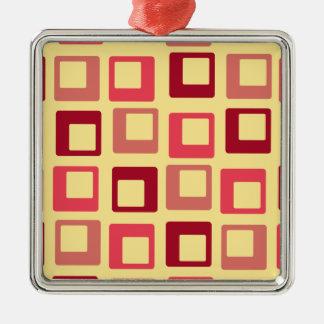 レトロのポップ・アートのな正方形の黄色の赤 メタルオーナメント