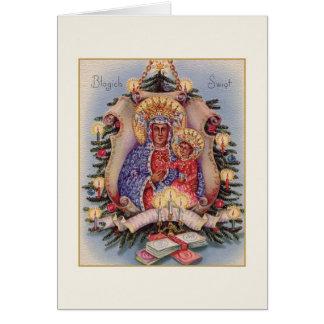 レトロのポーランドの宗教Częstochowaのクリスマスカード カード
