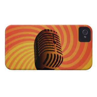 レトロのマイクロフォンのカスタムなブラックベリーの箱 Case-Mate iPhone 4 ケース